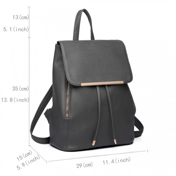 E1669 - Miss Lulu Faux Leather Stylish Fashion Backpack Grey