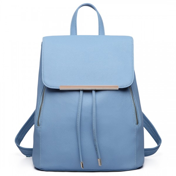 E1669 - Miss Lulu Faux Leather Stylish Fashion Backpack - Light Blue
