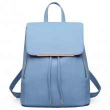 E1669 - Miss Lulu Faux Leather Stylish Fashion Backpack Light Blue