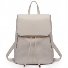 E1669 - Miss Lulu Faux Leather Stylish Fashion Backpack Light Grey
