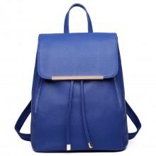 E1669 - Miss Lulu Faux Leather Stylish Fashion Backpack - Navy