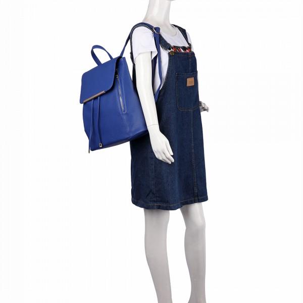 E1669 - Miss Lulu Faux Leather Stylish Fashion Backpack Navy
