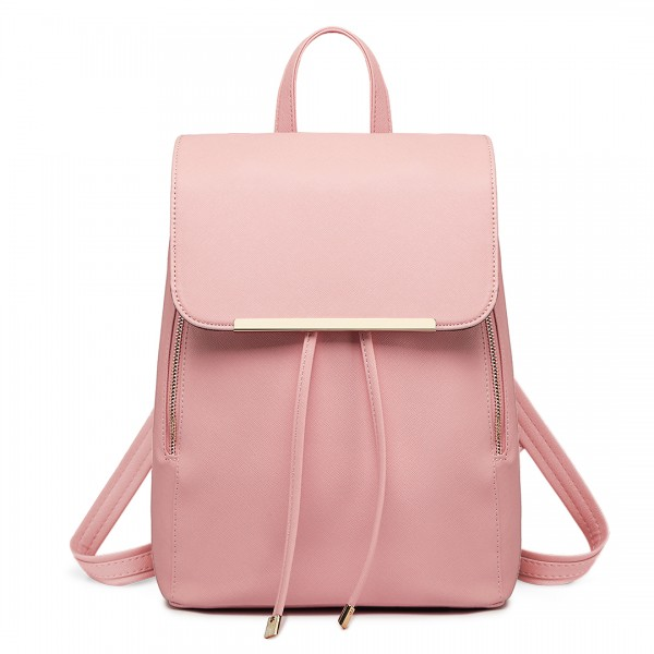 E1669 - Miss Lulu Faux Leather Stylish Fashion Backpack - Pink