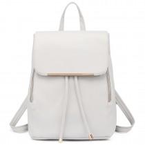 E1669 - Miss Lulu Faux Leather Stylish Fashion Backpack White