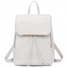 E1669 - Miss Lulu Faux Leather Stylish Fashion Backpack White