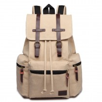 E1672-KONO LARGE MULTI FUNCTION LEATHER DETAILS CANVAS BACKPACK BEIGE