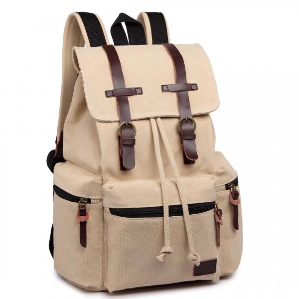 E1672 - Kono Large Multi Function Leather Details Canvas Backpack Beige