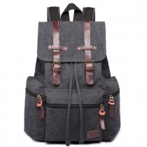 E1672 - Kono Large Multi Function Leather Details Canvas Backpack Black