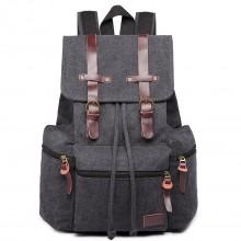 E1672 - Grand sac à dos multifonctionnel de randonnée  Kono en toile avec des finitions en cuir en noir