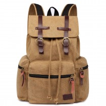 E1672 - Kono Large Multi Function Leather Details Canvas Backpack Brown