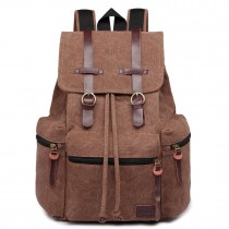 E1672-KONO LARGE MULTI FUNCTION LEATHER DETAILS CANVAS BACKPACK COFFEE