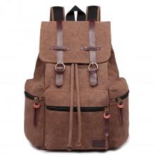 E1672 - Grand sac à dos multifonctionnel de randonnée  Kono en toile avec des finitions en cuir en café