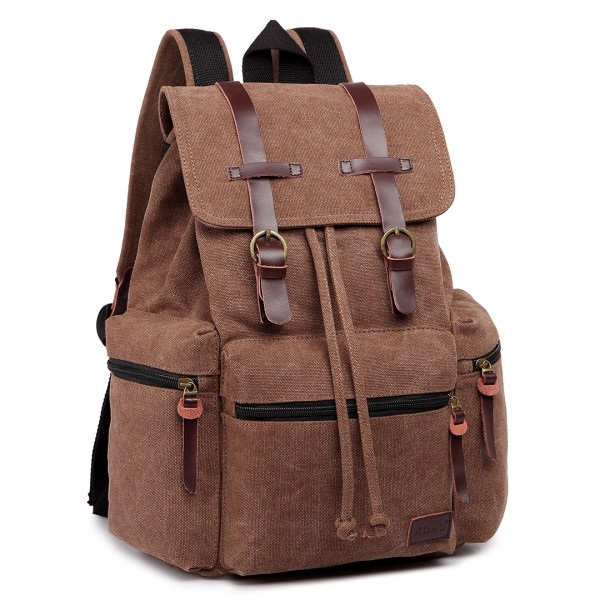 E1672 - Kono Large Multi Function Leather Details Canvas Backpack Coffee