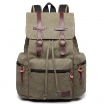 E1672- KONO LARGE MULTI FUNCTION LEATHER DETAILS CANVAS BACKPACK GREEN