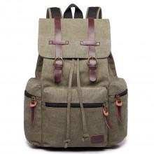 E1672 - Grand sac à dos multifonctionnel de randonnée  Kono en toile avec des finitions en cuir en vert