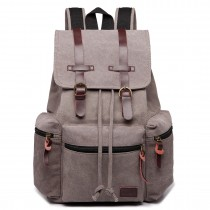 E1672-KONO LARGE MULTI FUNCTION LEATHER DETAILS CANVAS BACKPACK GREY