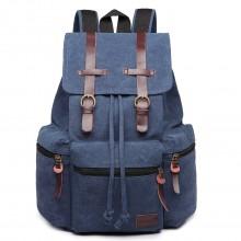 E1672 - Grand sac à dos multifonctionnel de randonnée  Kono en toile avec des finitions en cuir en bleu marine