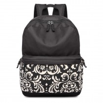 E1673 - Miss Lulu Oxford Waterproof Cloth Backpack School Bag Rucksack Black