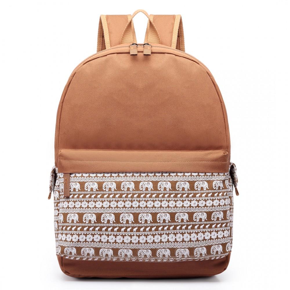 detailing ae472 b4c74 E1675 - Miss Lulu Elephant Print Backpack Brown