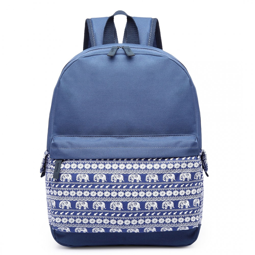 new style c6415 97dd6 E1675 - Miss Lulu Elephant Print Backpack Navy