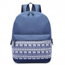 E1675 - Miss Lulu  Elephant Print Backpack Navy