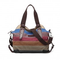 E1677- Kono Women Shoulder Bag Messenger Rainbow Canvas Stripe