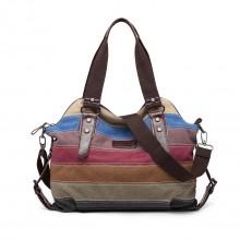 E1677- Sac cabas porté épaule Miss Lulu en toile à rayures couleurs arc-en-ciel