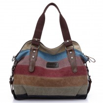 E1677- Miss Lulu Women Shoulder Bag  Messenger Rainbow Canvas Stripe