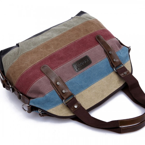 E1677- Kono Women Shoulder Bag  Messenger Rainbow Canvas Stripe