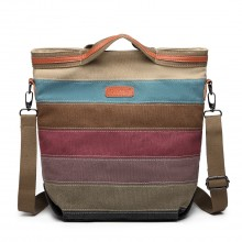 E1679 - Kono Rainbow Canvas Handbag Nappa Patch