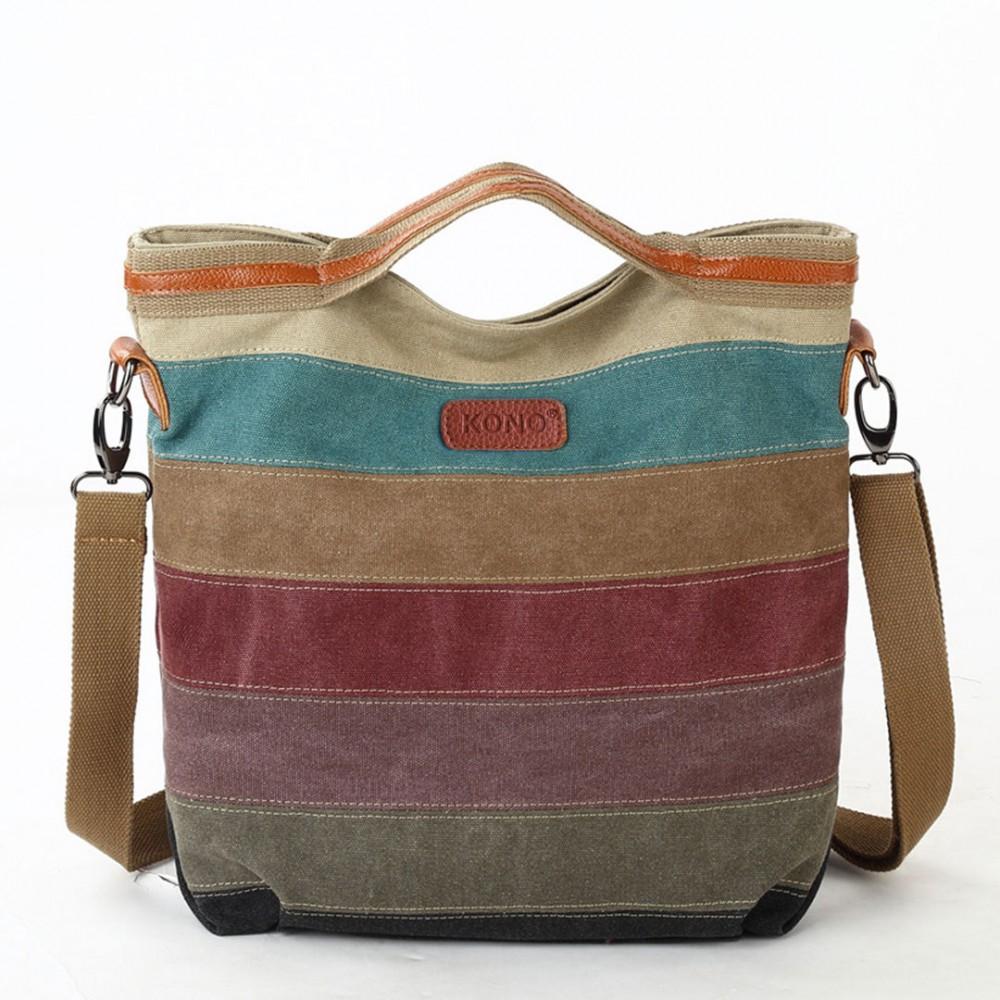 Schoudertas Canvas Dames : E kono rainbow canvas handbag nappa patch