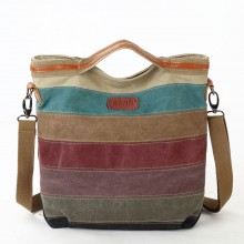 E1679 - Kono Rainbow Canvas Handbag Nappa Patch