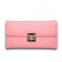 E1690 - Miss Lulu Textured Leather Look Flip Lock Purse Pink