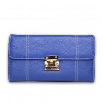 E1690 - Miss Lulu Textured Leather Look Flip Lock Purse Navy