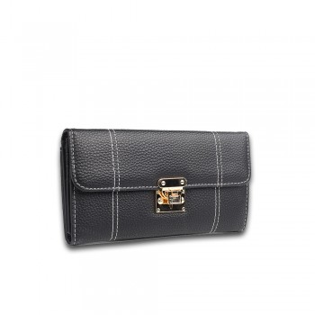 E1690 - Miss Lulu Textured Leather Look Flip Lock Purse Black