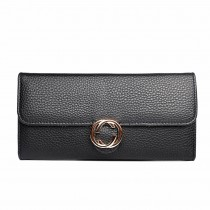E1691 - Miss Lulu Textured Leather Look Golden Rings Purse Black
