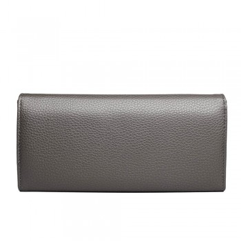E1691 - Miss Lulu Textured Leather Look Golden Rings Purse Grey