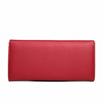 E1691 - Miss Lulu Textured Leather Look Golden Rings Purse Burgundy