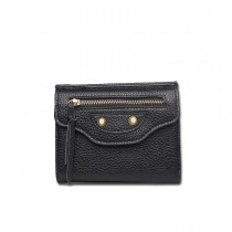 E1692 - Miss Lulu Small Textured Leather Look Golden Thimble Purse Black