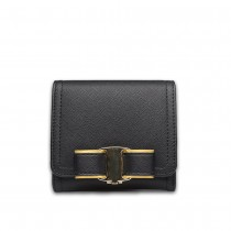 E1693 - Miss Lulu Small Textured Leather Look Bow Clip Purse Black