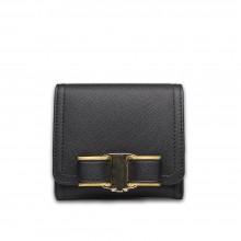E1693 - Petit Portefeuille Miss Lulu en cuir texturé avec nœud en noir