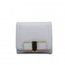 E1693 - Miss Lulu Small Textured Leather Look Bow Clip Purse Grey