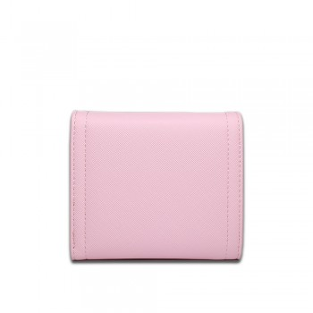 E1693 - Miss Lulu Small Textured Leather Look Bow Clip Purse Pink