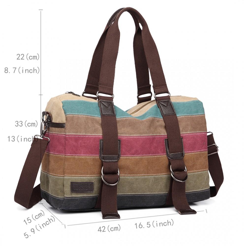 3b6873cc42 E1710 - Kono Travel Weekend Bag Rainbow Canvas Stripe