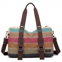 E1710 - Kono Travel Weekend Bag Rainbow Canvas Stripe