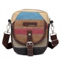 E1712 - Kono Rainbow Canvas Stripe Saddle Bag
