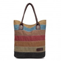 E1731 - Kono Rainbow Canvas Stripe Shopper Tote Bag