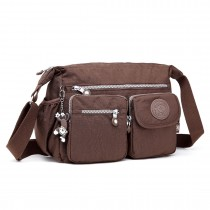 E1732 - Multi Compartment Functional Cross Body Shoulder Bag Coffee