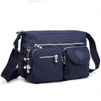E1732 - Multi Compartment Functional Cross Body Shoulder Bag Blue