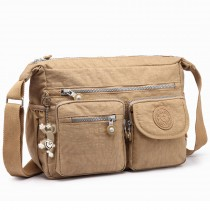 E1732 - Multi Compartment Functional Cross Body Shoulder Bag Beige